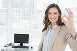 Elegant smiling businesswoman gesturing okay sign in office