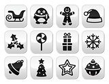 Christmas celebration, winter vector buttons set