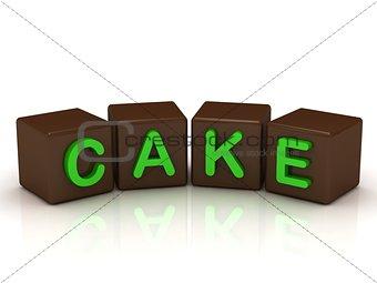 CAKE inscription bright green letters