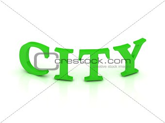 CITY sign with green letters