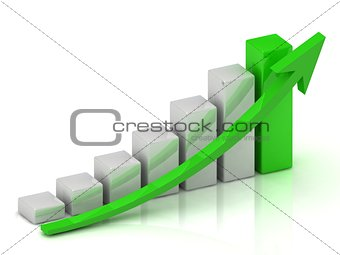 Business growth chart of the bars and the green arrow