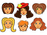 Set of six cartoon women faces