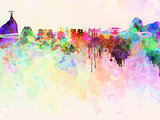 Rio de Janeiro skyline in watercolor background