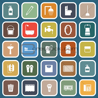 Bathroom flat icons on blue background
