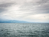 Lake Bodensee with dark clouds