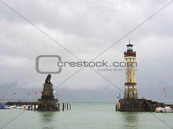 tower and lion in Lindau