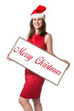 Santa Claus woman with Merry Christmas