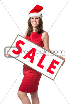Santa Claus woman with Sale board