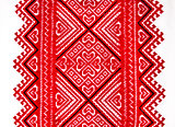 Ukrainian traditional national red and black ornament embroidery
