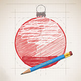 Sketch drawing of Happy New Year. Pictured Christmas