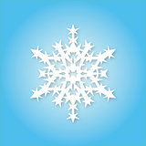 White snowflake on blue background