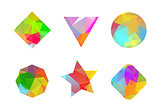 A set of colored geometric polygonal shapes for your design