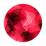 Abstract geometric polygonal red sphere