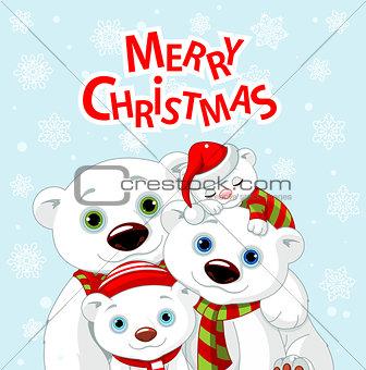 Christmas bear family greeting card
