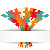 Puzzle background with banner. Illustration for your business presentation.