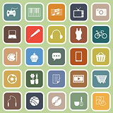 Hobby flat icons on green background