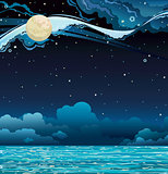 Night sky and sea/