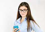 cheerful girl with smartphone