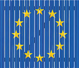 European flag on wooden fence