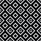 Abstract black and white seamless pattern with hearts
