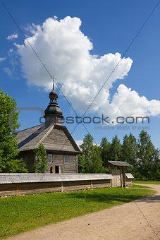 Old wooden rural church near Minsk, Belarus.