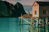 Old fishing port by fjord
