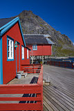 Red rorbu fishing huts