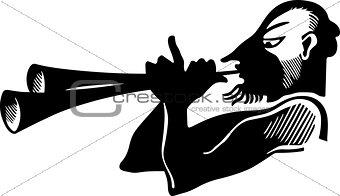 Antique horn player