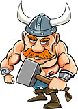 Cartoon viking with a big hammer