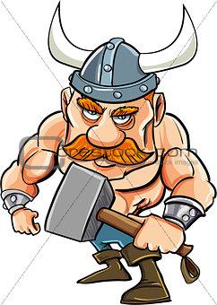 Cartoon viking with a big hammer