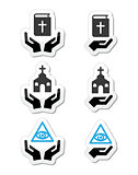 Religion icons - hands with bible, church, eye of god