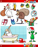 christmas themes cartoon set