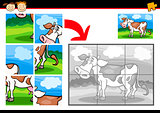 cartoon cow jigsaw puzzle game
