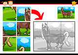 cartoon horse jigsaw puzzle game
