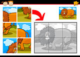 cartoon lion jigsaw puzzle game