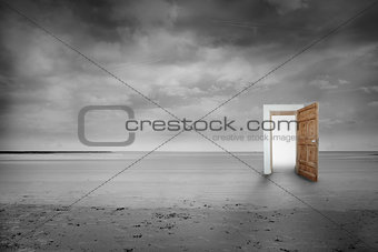 Picture of open wooden door