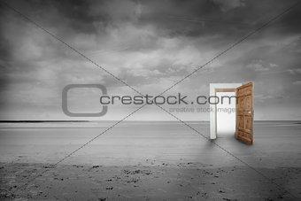 Picture of open wooden door