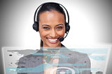 Pretty smiling businesswoman using futuristic interface hologram