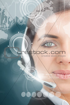 Attractive businesswoman using futuristic interface hologram
