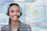 Smiling attractive businesswoman looking at futuristic interface hologram