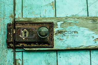 Close up of lock on blue door