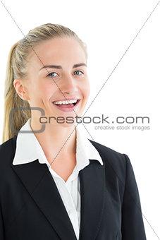 Portrait of happy blonde businesswoman