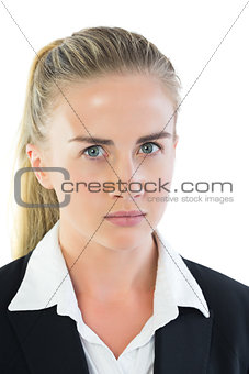 Portrait of annoyed young businesswoman