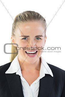Portrait of outraged blonde businesswoman