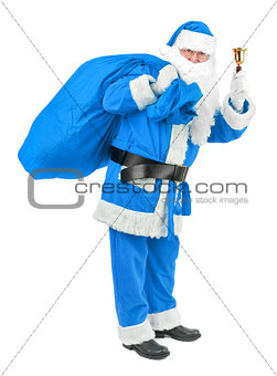 Blue Santa claus with bell on white