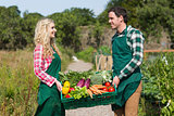 Young couple carrying vegetables