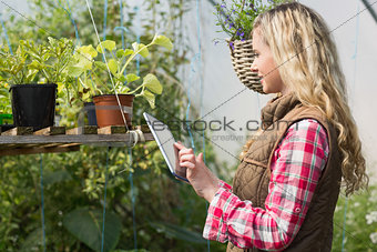 Blonde woman using her tablet in a green house