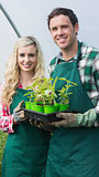 Happy couple showing carton of small plants