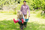 Happy man pushing his laughing girlfriend in a wheelbarrow