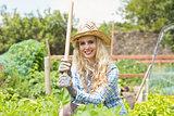 Blonde woman wearing a straw hat